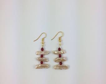 Biwa Pearls Bead Earrings by Pottery Lovely
