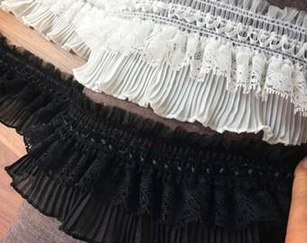 Width 9 cm Black Elastic Ruffle Lace,fold Ruffle Lace Trim,Stretch Ruffled Lace,Chiffon Lace Trim,Layered Lace,Baby Dress,Clothing Design