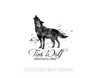 Wolf Logo-Animal Logo-Watercolor Animal-Forest Animal Logo-Nature Logo-Photography Logo-Branding-FREE font change