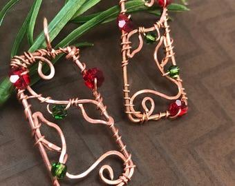 Wire Copper Earrings, Copper Earrings, Wire Wrapped Earrings, Wire Wrapped Jewelry, Wire Earrings, Copper Wire Earrings