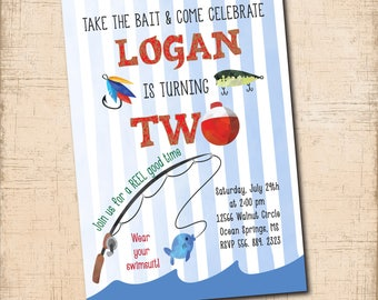 Fishing Birthday Invitation printable /Fishing Boy Birthday, Fishing Party, watercolor, fishing pole, bobber, 2nd /Wording can be changed