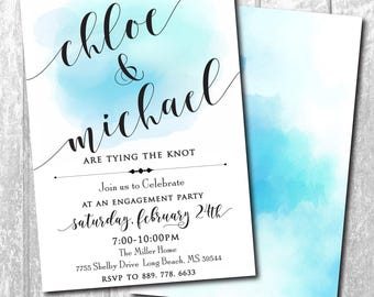 Engagement Party Invitation simple watercolor printable/Digital File/Simple Engagement Party Invitation, blue, black/Wording can be changed
