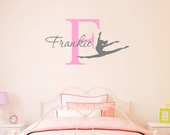 Personalised Gymnastics Name Wall Sticker Wall Decal Childrens Kids Nursery  Bedroom Playroom Vinyl