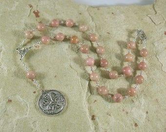Freyja (Freya) Prayer Bead Necklace in Rhodonite:  Norse Goddess of Love, War and Magic