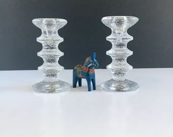 Vintage Iittala Festivo Three Ring Candleholders, Set of 2 Vintage Iittala Festivo Glass Candle Holders by Timo Sarpaneva
