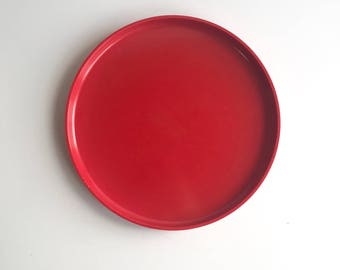Mid Century Heller Melamine Red Dinner Plates, Vintage Heller Plates by Massimo Vignelli 5 Available