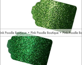 Glitter GIFT/FAVOR TAGS (12 pc) -- Mint/Pastel Green