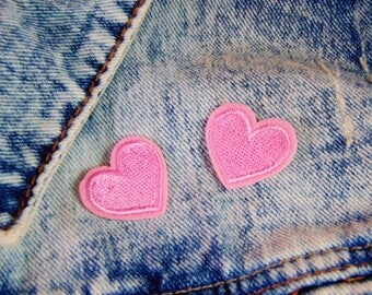 Pink Love Heart Patches Set x 2 Sew Iron on Embroidered Cute Small Collar  Love Applique Custom Jacket and Clothing Fabric Hot Fix Badge UK