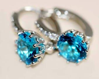 Blue CZ Earrings | Beach Wedding Blue CZ Jewelry | Aqua Blue CZ Earrings | Bibijoux