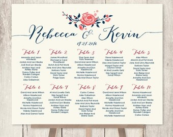 Floral Wedding Seating Chart Sign / Watercolor Rose Flower / Navy Rose Wedding Custom Seating Sign ▷ Personalized and emailed printable file
