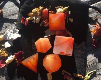 Sacred Geometry Set, Bloodstone, Carnelian, Platonic Solids, Spiritual Gift