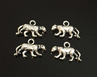 4 PC Tiger Charm-Panther Charms-Mascot Charm-Antique Silver Tone Charms