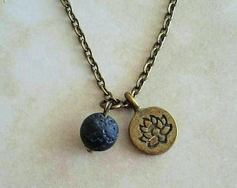 Lava Rock Lotus Charm Pendant Aromatherapy Essential Oil Diffuser Antique Bronze Necklace 20 Inches