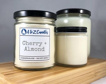 Cherry Candle, Cherry Almond Candles, Soy Candles, Cherry Scented Candle, Almond Scented Candle, Glass Jar Candle, Amaretto Candle, Cherries