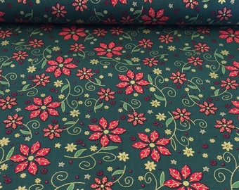 Green Christmas Floral Cotton Fabric, Quilting Cotton Fabric, 100% Cotton - Fat Quarter