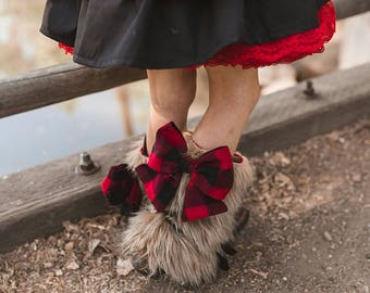 Blanchette Boof Cuffs .. Pink PomPon - Fur boot cuffs, fur boot covers, girls fur boots, toddler fur boots, baby fur boots, bow boots, plaid