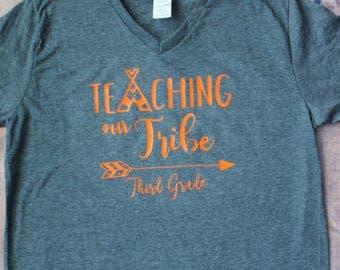 Third Grade, Teaching My Tribe, Teacher Shirt, Custom Teacher Shirt, First Day of School Shirt, , Elementary Teacher Shirt