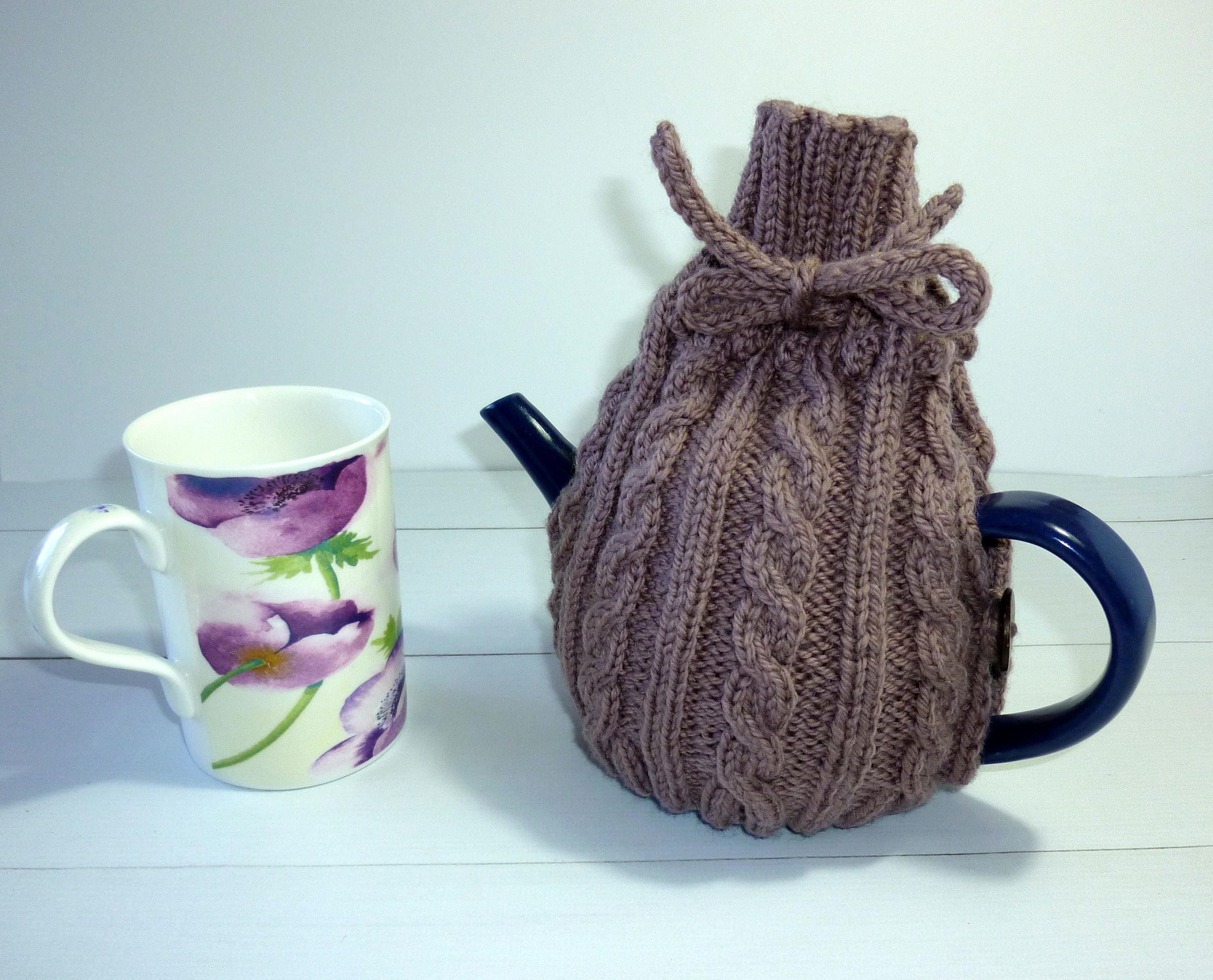 knitted tea cosy 4 cup teapot cosy knitted tea cozy cable