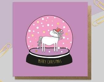 Unicorn Christmas Card - Snow Globe - Xmas Card - Christmas Card Daughter - Christmas Card Wife - Xmas Card Girlfriend - Gold Foil