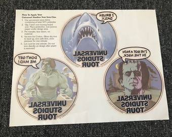 Vintage 1979 Universal Studios Hollywood Tour Iron-Ons With Bag! JAWS! The Hulk! Frankenstein!