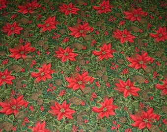 Vintage Christmas Fabric, Poinsettia And Pine Cone, 1 Yard Or More