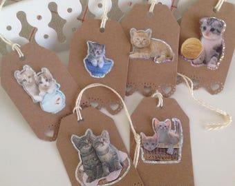 Set of 6 labels indented bottom tags 3D cat collection. Set 1. Brown Kraft cardstock. For embellishments packs