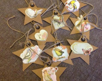 Set of 9 labels tags star collection birds and butterflies