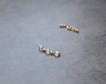 Wedding Bracelet Crystal, pearls, Swarovski crystals - bridal bracelet, bracelet, wedding jewelry, bridal ornament square cubes