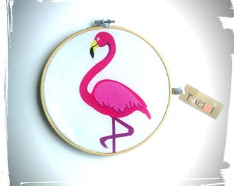 Tambour embroidery Flamingo frame nursery decor kids and baby