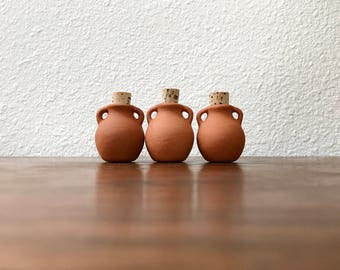 Tiny terra cotta pots with cork stoppers