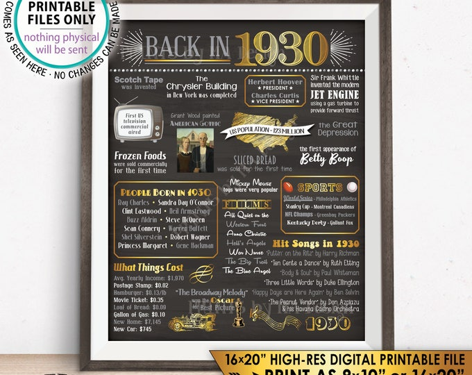 "1930 Flashback Poster, 1930 Birthday Flashback to 1930 USA History Back in 1930, Born in 1930, Chalkboard Style PRINTABLE 16x20"" Sign <ID>"