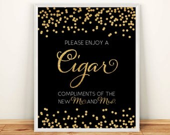 Printable Wedding sign Cigar Bar 8x10 Gold Glitter Confetti Wedding Bar Sign Cigar Compliments of the bride and groom INSTANT DOWNLOAD 300dp