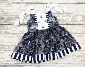 Nautical Halter Tunic Dress, Anchor Top, Girls Summer Halter, Toddler Anchor Dress, Navy and White Anchor Top, Sizes 2-10