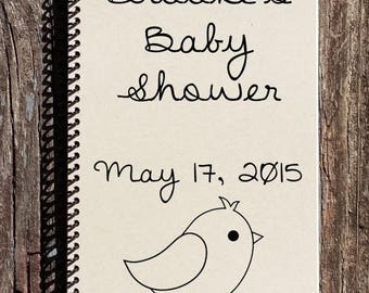 SALE - Baby Shower Book - Personalized Baby Shower Book - Baby Shower Guest Book - Spring Baby Shower - Bird Baby Shower