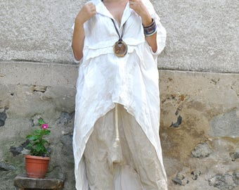 Linen Set/Top and pants/White loose tunic and Beige harem pants/maxi long linen tunic and maxi pants/Summer set/Woman linen clothes/S0336