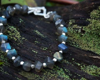 Unique Faceted Labradorite Bracelet with Thai Hill Tribe Silver Beads and Clasp