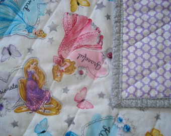 Princess Toddler Quilt with Cinderella, Sleeping Beauty, and Rapunzel