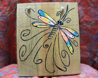 Whimsical Dragonfly Wooden Sign
