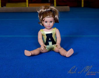 Personnalized 18 inch doll leotard, gymnastics leotard, american doll, swimsuit, natation, gymnast, kid ,ADD letter or number of your choice