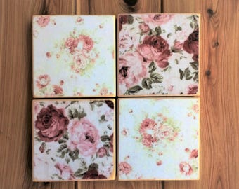 Antique rose design pine coasters - Gift for her - 4, 6 or 8 x decoupaged wooden coasters with or without holder -