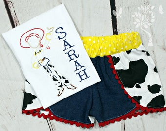 Girls Toy Story Jessie Shirt- Toddler Girls- Jessie Toy Story Outfit- Baby Girls- Jessie Toy Story Shorts-  6m, 12m, 18m, 2t, 3t, 4, 5, 6 8