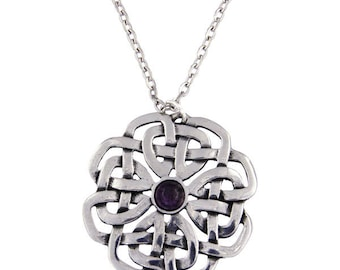 Celtic February Birth Stone Amethyst Celtic Rose Pendant Necklace Ideal Gift For Her Mom and Birthday