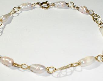 "Vintage 14K Yellow Gold Filled Fancy Link 7 3/4"" Bracelet w/Rice Pearls"