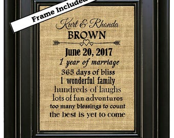 FRAMED Personalized Burlap 1st Wedding Anniversary Gift For Couple 1 Year