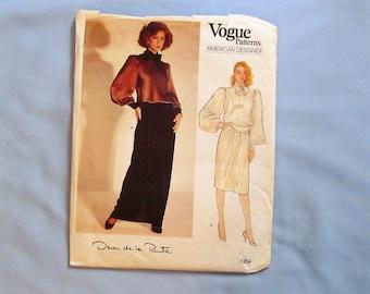 Vogue Sewing Pattern #1204, Camisole Dress and Top, Oscar de la Renta, Size 12, 1980s