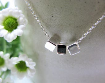 Sterling silver cube necklace