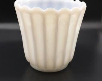 Vintage Milk Glass, Vintage Milk Glass Vase, Scalloped Flower Vase, Fluted Flower Vase, White Wedding Decor, Altar Vase, Planter