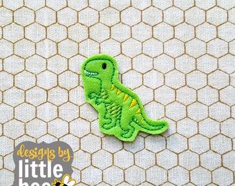 T-Rex, tyrannosaurus rex feltie - dinosaur for bows, crafts, planner clips, etc - in the hoop machine embroidery design 06 16 2017