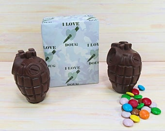 Valentines Gift Idea Chocolate, two milk chocolate grenades, solid and 'smarties'