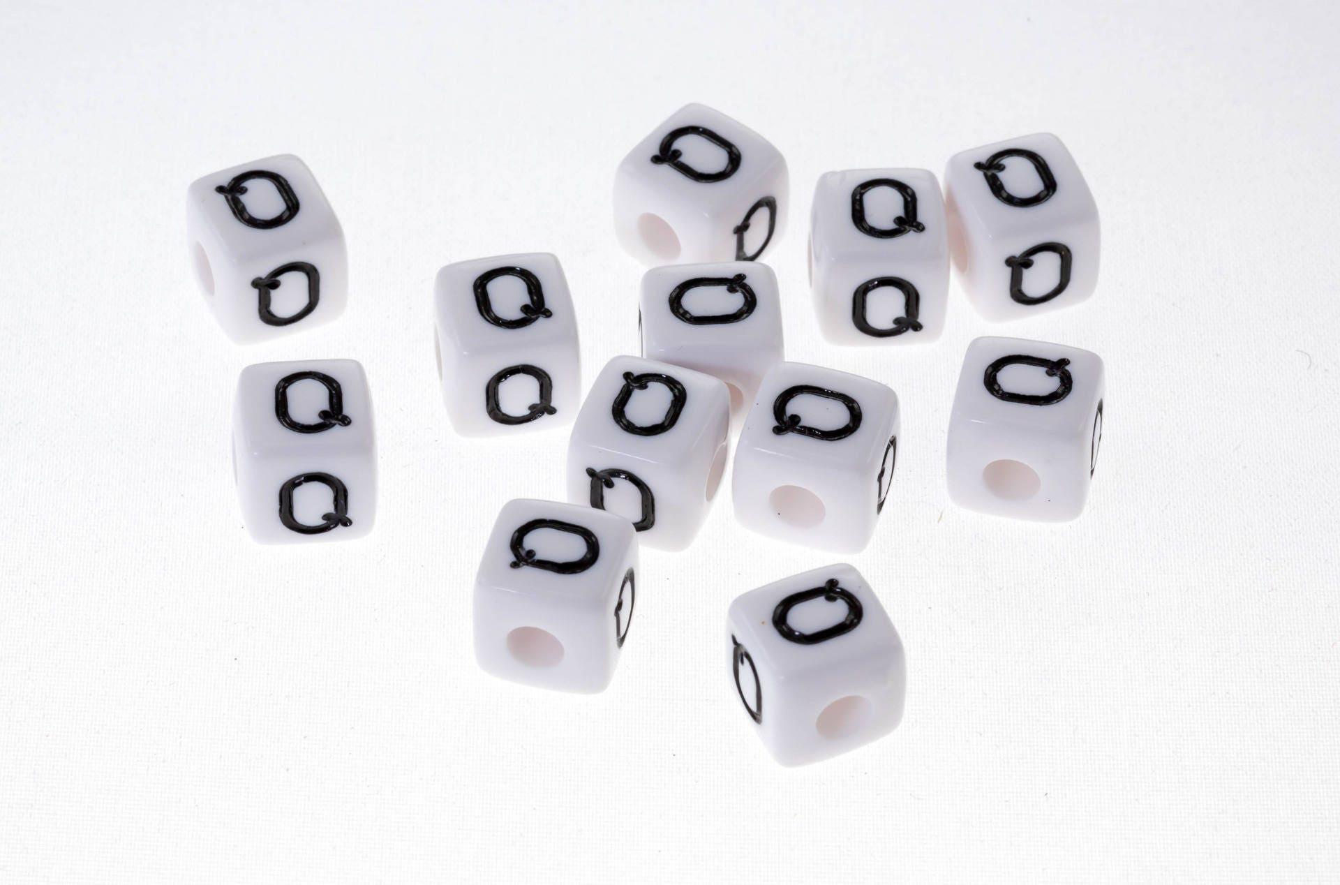 Blanc Lot de 10 perles Perle acrylique alphabétique de 10 x 10 mm Lettre N